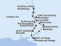 MSC Preziosa Karibik-Kreuzfahrt ab/bis Point-à-Pitre mit Fort de France und Port of Spain Reiseroute